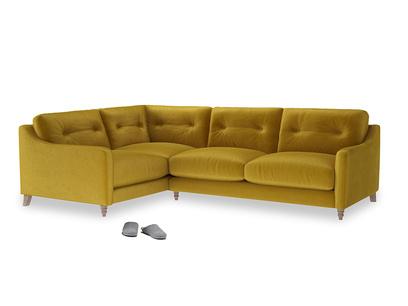 Large Left Hand Slim Jim Corner Sofa in Burnt yellow vintage velvet