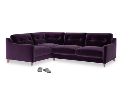Large Left Hand Slim Jim Corner Sofa in Deep Purple Clever Deep Velvet