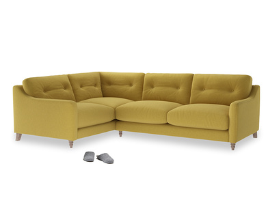 Large Left Hand Slim Jim Corner Sofa in Maize yellow Brushed Cotton