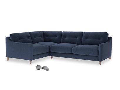 Large Left Hand Slim Jim Corner Sofa in Navy blue brushed cotton