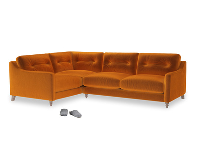 Large Left Hand Slim Jim Corner Sofa in Spiced Orange clever velvet