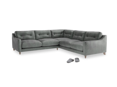 Even Sided Slim Jim Corner Sofa in Faded Charcoal beaten leather