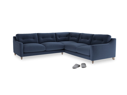 Even Sided Slim Jim Corner Sofa in Navy blue brushed cotton