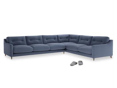 Xl Right Hand Slim Jim Corner Sofa in Breton blue clever cotton