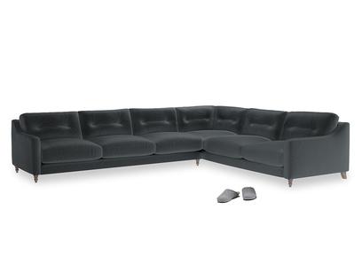 Xl Right Hand Slim Jim Corner Sofa in Dark grey Clever Deep Velvet