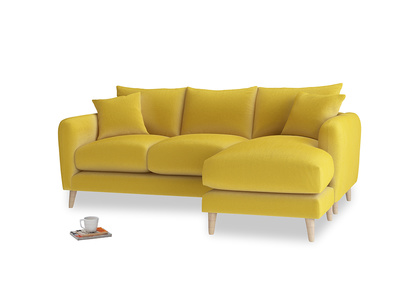 Large right hand Squishmeister Chaise Sofa in Bumblebee clever velvet