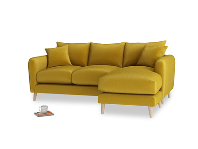 Large right hand Squishmeister Chaise Sofa in Burnt yellow vintage velvet