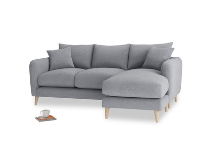 Large right hand Squishmeister Chaise Sofa in Dove grey wool