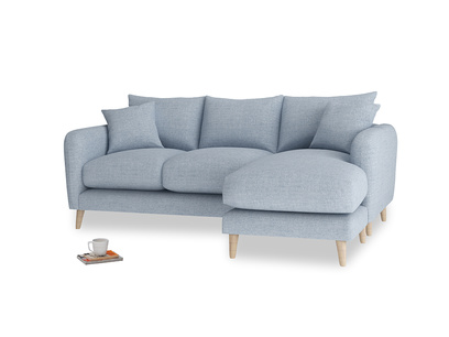 Large right hand Squishmeister Chaise Sofa in Frost clever woolly fabric