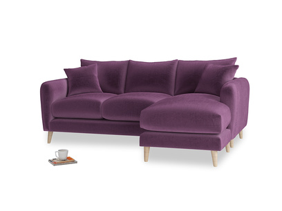 Large right hand Squishmeister Chaise Sofa in Grape clever velvet