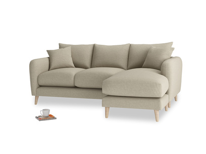 Large right hand Squishmeister Chaise Sofa in Jute vintage linen