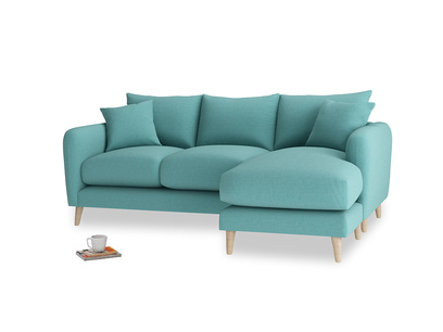 Large right hand Squishmeister Chaise Sofa in Peacock brushed cotton