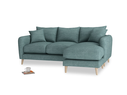 Large right hand Squishmeister Chaise Sofa in Blue Turtle Clever Laundered Linen