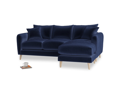 Large right hand Squishmeister Chaise Sofa in Goodnight blue Clever Deep Velvet