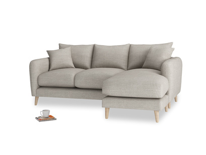 Large right hand Squishmeister Chaise Sofa in Grey Daybreak Clever Laundered Linen