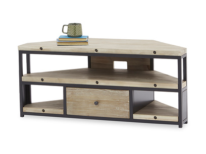 Hercule wooden Industrial Corner TV Unit