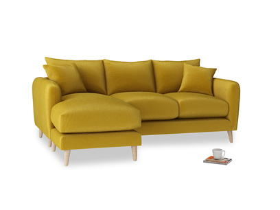 Large left hand Squishmeister Chaise Sofa in Burnt yellow vintage velvet