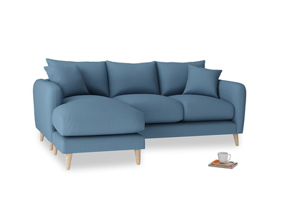 Large left hand Squishmeister Chaise Sofa in Easy blue clever linen