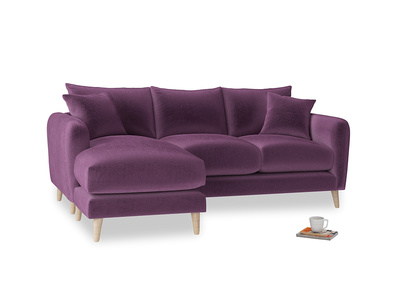 Large left hand Squishmeister Chaise Sofa in Grape clever velvet