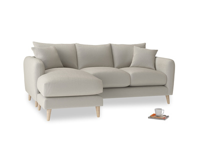 Large left hand Squishmeister Chaise Sofa in Smoky Grey clever velvet