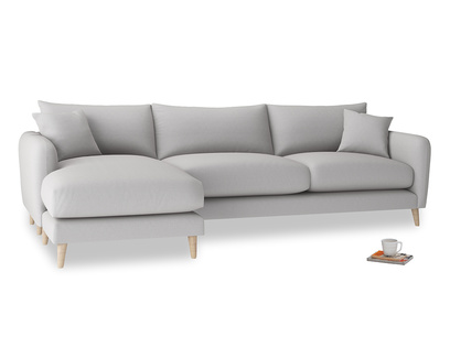 XL Left Hand  Squishmeister Chaise Sofa in Flint brushed cotton