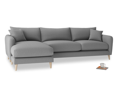 XL Left Hand  Squishmeister Chaise Sofa in Gun Metal brushed cotton