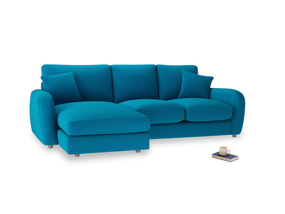 Large left hand Easy Squeeze Chaise Sofa in Bermuda Brushed Cotton
