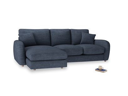 Large left hand Easy Squeeze Chaise Sofa in Selvedge Blue Clever Laundered Linen