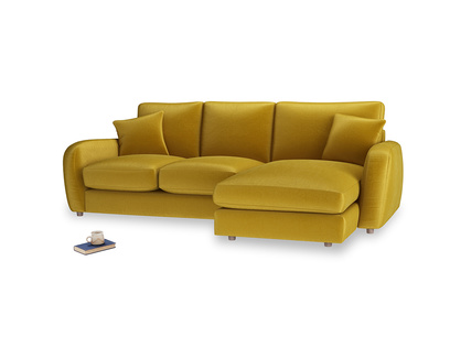 Large right hand Easy Squeeze Chaise Sofa in Burnt yellow vintage velvet