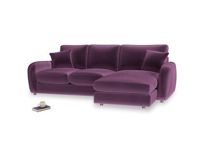 Large right hand Easy Squeeze Chaise Sofa in Grape clever velvet