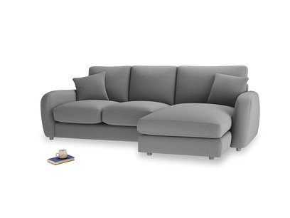 Large right hand Easy Squeeze Chaise Sofa in Gun Metal brushed cotton