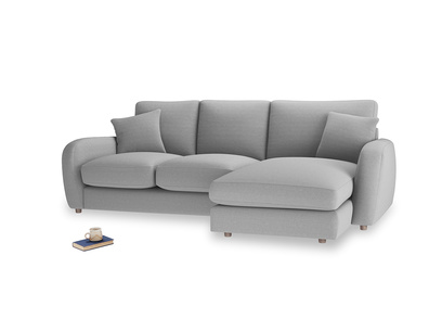 Large right hand Easy Squeeze Chaise Sofa in Magnesium washed cotton linen