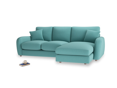 Large right hand Easy Squeeze Chaise Sofa in Peacock brushed cotton