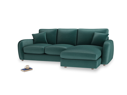 Large right hand Easy Squeeze Chaise Sofa in Timeless teal vintage velvet