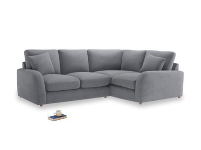 Large Right Hand Easy Squeeze Corner Sofa in Dove grey wool