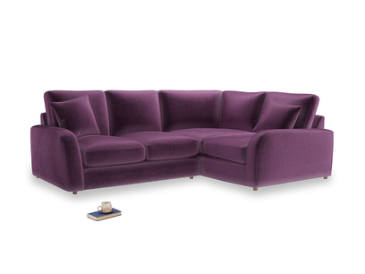 Large Right Hand Easy Squeeze Corner Sofa in Grape clever velvet