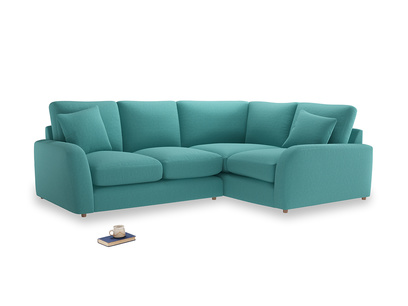 Large Right Hand Easy Squeeze Corner Sofa in Peacock brushed cotton