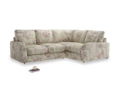 Large Right Hand Easy Squeeze Corner Sofa in Pink vintage rose