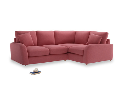 Large Right Hand Easy Squeeze Corner Sofa in Raspberry brushed cotton