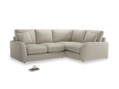 Large Right Hand Easy Squeeze Corner Sofa in Thatch house fabric