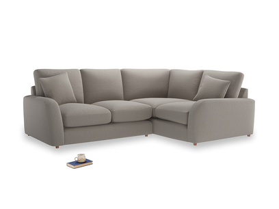 Large Right Hand Easy Squeeze Corner Sofa in Wolf brushed cotton
