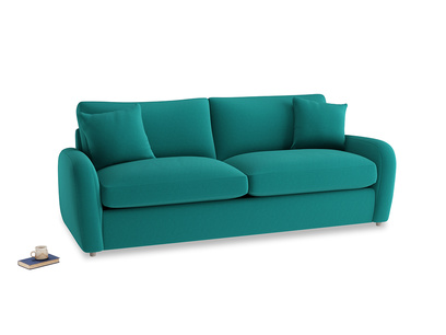 Large Easy Squeeze Sofa Bed in Indian green Brushed Cotton
