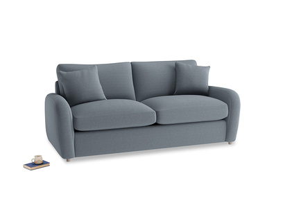 Medium Easy Squeeze Sofa Bed in Blue Storm washed cotton linen