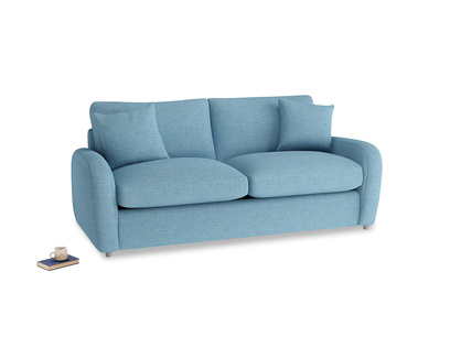 Medium Easy Squeeze Sofa Bed in Moroccan blue clever woolly fabric
