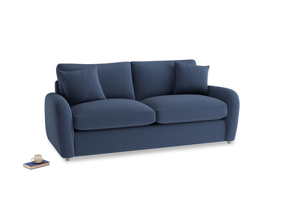 Medium Easy Squeeze Sofa Bed in Navy blue brushed cotton