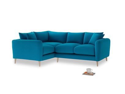 Large Left Hand Squishmeister Corner Sofa in Bermuda Brushed Cotton