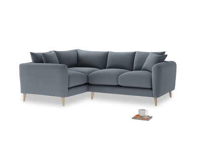 Large Left Hand Squishmeister Corner Sofa in Blue Storm washed cotton linen