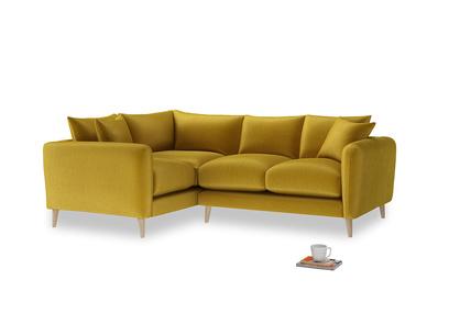 Large Left Hand Squishmeister Corner Sofa in Burnt yellow vintage velvet