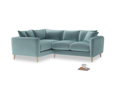 Large Left Hand Squishmeister Corner Sofa in Lagoon clever velvet