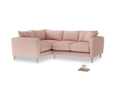 Large Left Hand Squishmeister Corner Sofa in Pale Pink Clever Woolly Fabric